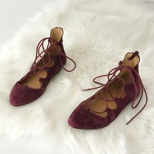 Burgundy Suede Lace Up Pointed Toe Flats Ankle Tie